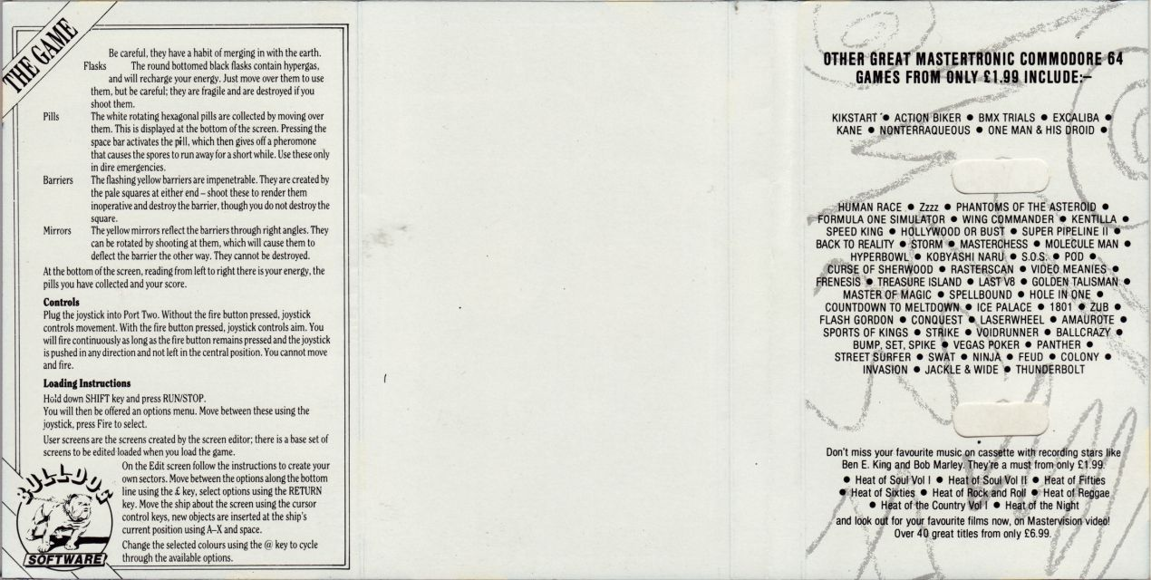 Inner inlay card, scanned by The Ultimate Tape Archive V1.0